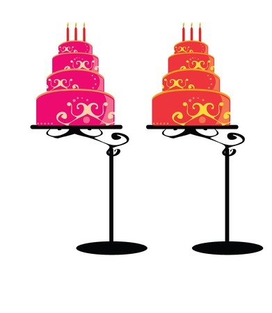 dessert stand: Cakes with decoration in pink and orange  on a white background