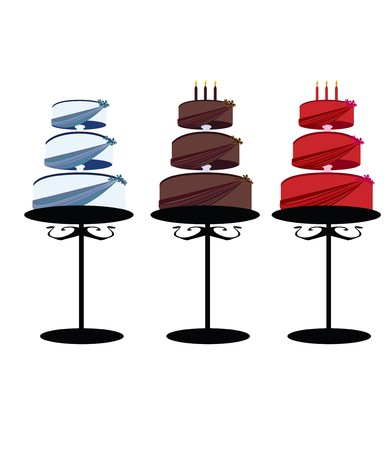 Multitier cakes with decorated layers on stands over a white background