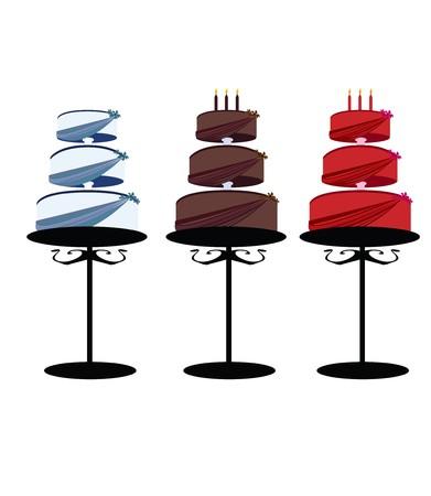Van cakes met ingerichte lagen op stands op een witte achtergrond