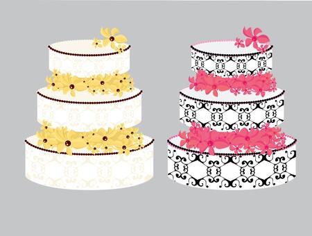 ingericht gebak met bloemen tussen lagen op een grijze achtergrond Stock Illustratie