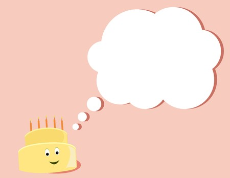 Yellow birthday cake smiling as it thinks all on a pink background