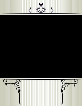 Cream striped background with an open black field with floral designs Illustration