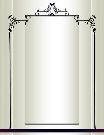 Crème achtergrond met een zwart frame met bloemmotieven en een paarse streep