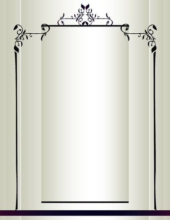 Cream background with a black frame with floral designs and a purple stripe Illustration