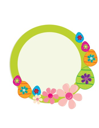 Green circular frame with Easter eggs and flowers on a white background