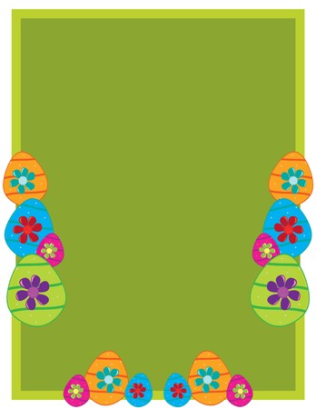 Green rectangular frame with Easter eggs and flowers on a white background