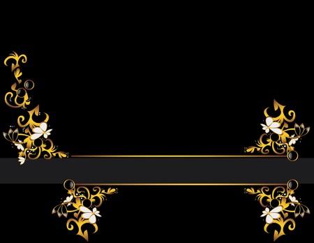 Zwarte achtergrond met een goud en crème abstract ontwerp aan weerszijden van een grijze lijn