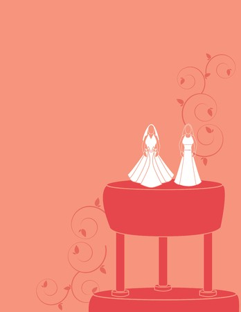 Wedding background for a female couple with brides wearing two dress designs