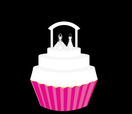Wedding cupcake for a female couple with brides wearing two dress designs