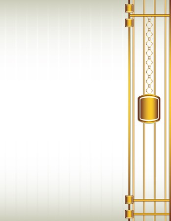 Cream background with a gold design including chain-like elements Çizim