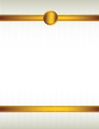 Gouden lint en met een zegel voering de boven- en onderkant van een striped crème gekleurde achtergrond