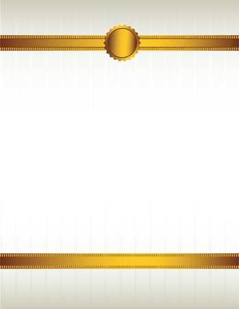 Gold ribbon and with a seal lining the top and bottom of a striped cream colored background