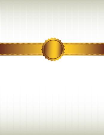 Gouden lint en met een zegel op een striped crème gekleurde achtergrond