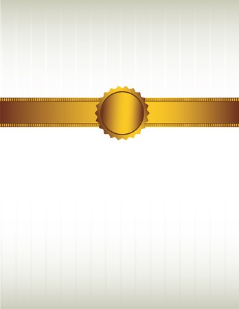 Gold ribbon and with a seal over a striped cream colored background