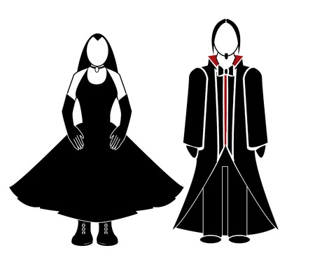 goth couple in cutout on a white background Çizim