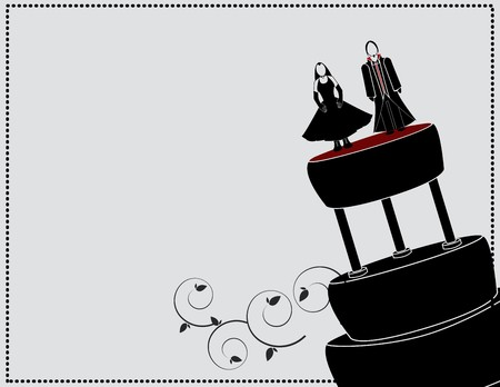 goth couple on a cake with a gray background