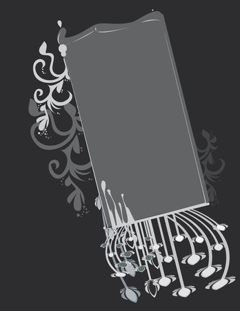Gray abstract frame and background
