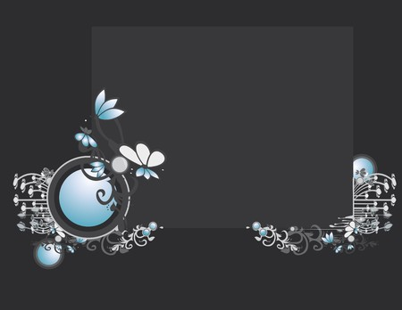 Gray blue abstract frame and background with circular elements Çizim