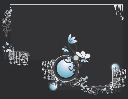 Gray blue abstract frame and background with circular elements Illustration