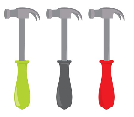 Hammers with plastic handles on a white background Illustration