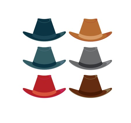 Hats in color variations on a white background Çizim