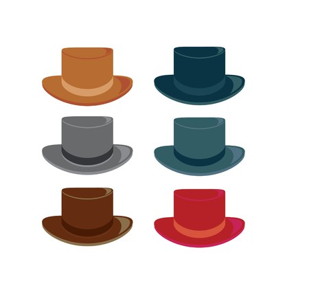 Hats in color variations on a white background Illustration