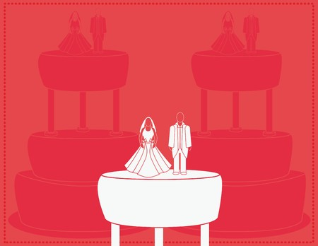 Wedding background for a couple with cakes in the background