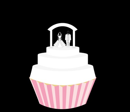 Wedding cupcake with couple standing on tiered frosting