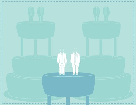 Wedding background for a male couple in suits Illustration