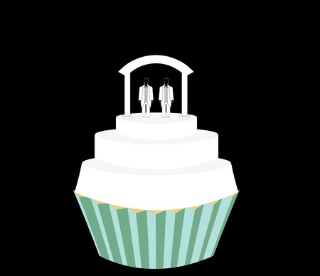 Wedding cupcake for a male couple wearing suits Vector