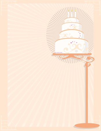 frosted: White and peach birthday cake on stand in front of a peach background Illustration