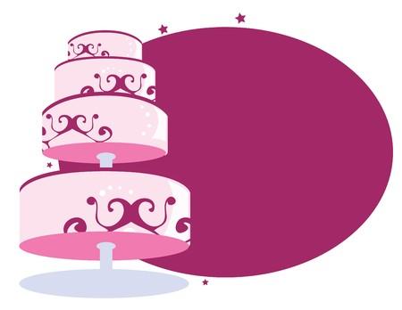 taart op stand in de voorkant van een witte en paarse achtergrond