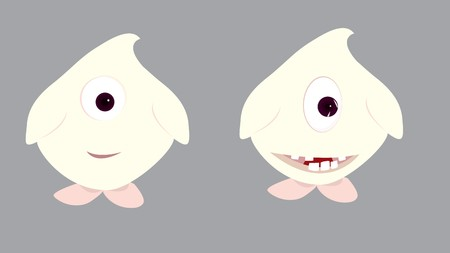 Quirky one eyed pink character smiling on a gray background