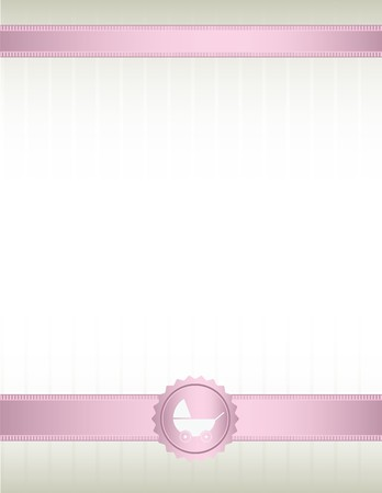 An off white background with pink ribbons at top and bottom and a baby stroller seal design