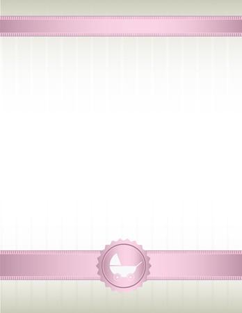 mo�os rosas: Un blanco apagado de fondo con cintas de color rosas en la parte superior y la inferior y un dise�o de sello de cochecito de beb�  Vectores