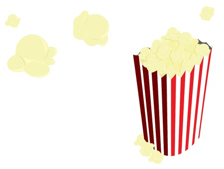 Popcorn in red and white striped back and flying out of it on a white background