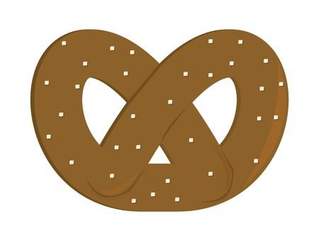Brown pretzel with salt grains on a white background Illustration