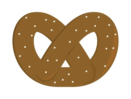 Brown pretzel with salt grains on a white background Illustration