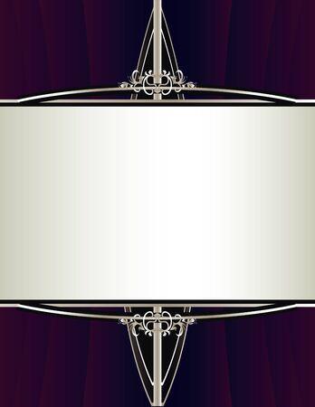 エレガントなシルバー フレーム デザインで集められた紫色の背景