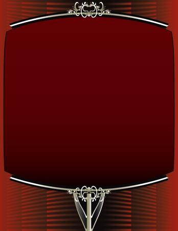 赤の背景に、エレガントな空白の赤と銀のフレーム デザイン