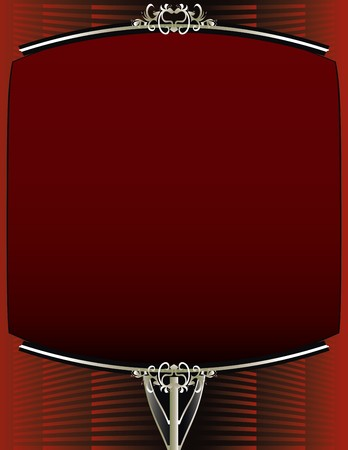 A red background with and elegant blank red and silver frame design Çizim