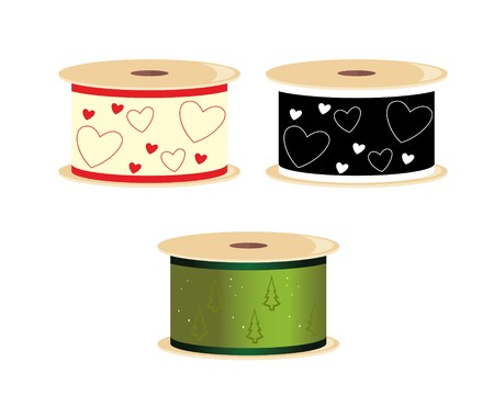 Three spools of ribbon with heart and pine tree designs
