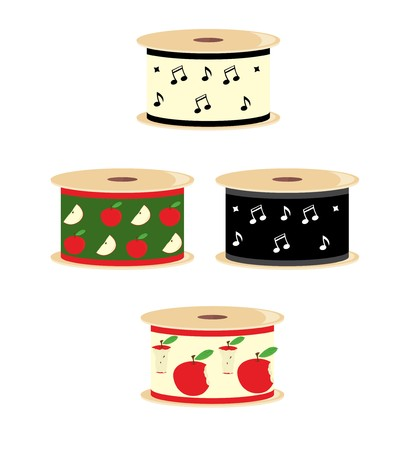 Four spools of ribbon with apple and musical note designs