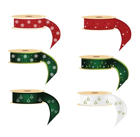 Six spools of ribbon with snowflake and pine tree designs