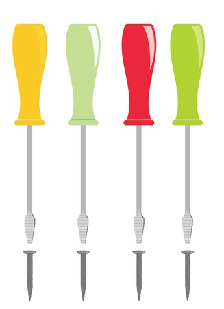 Screwdrivers with plastic handles on a white background