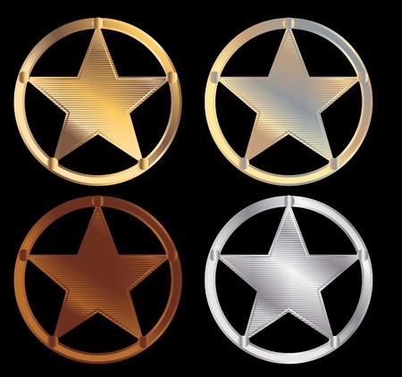 Shiny metallic sheriff stars on a black background