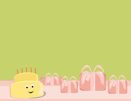 Yellow birthday cake smiling next to pink presents