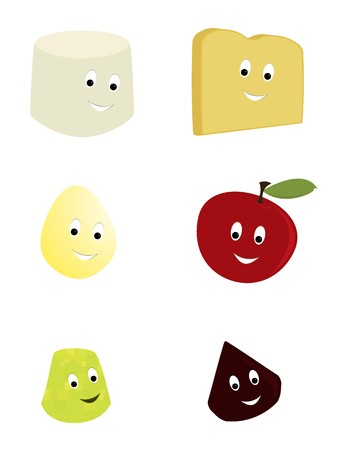 Happy smiling food characters on a white backgound
