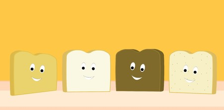 Four different slices of bread smiling happily on an orange background Çizim
