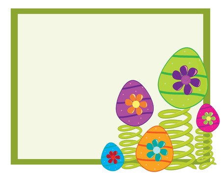 Bright playful background with decorated Easter eggs on green springs